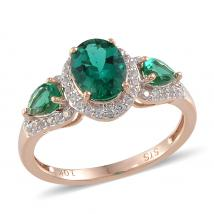 Created Emerald (2.38 Ct),Created White Sapphire 10K R Gold Ring
