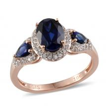Created Blue Sapphire (1.82 Ct),Created White Sapphire 10K R Gold Ring
