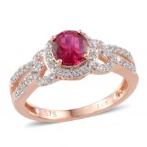Created White Sapphire (0.40 Ct),Synthetic Ruby 10K R Gold Ring