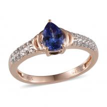 Tanzanite (0.59 Ct),White Topaz 10K R Gold Ring