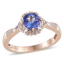 Tanzanite (0.77 Ct),White Topaz 10K R Gold Ring