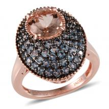 Morganite (2.10 Ct),Santa Maria Aquamarine Sterling Silver Ring