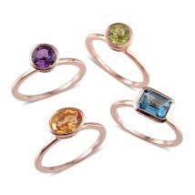 Multi Gem Stone Sterling Silver 4 Pcs Ring Set