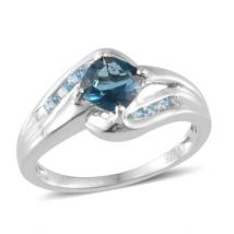 London Blue Topaz (1ct.) and .27 Signity Blue Topaz by-pass ring in Sterling Silver with Rhdium Plating