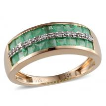 Brazilian Emerald (1.09 Ct) and Diamond 14K Y Gold Ring