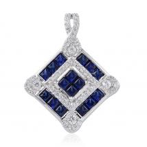 Created Blue Sapphire (10.20 Ct),Created White Sapphire Sterling Silver Pendant