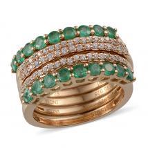Combodian Zirocn (1.36 Ct),Brazilian Emerald 14K Gold Overlay Sterling Silver Ring