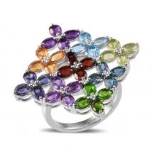 Multi Gem Stone Platinum Overlay Sterling Silver Ring