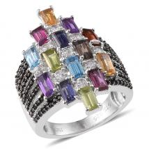 Multi Gem Stone Sterling Silver Ring