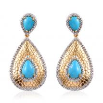 SLEEPING BEAUTY TURQUOISE (7.00 Ct) Sterling Silver Earring