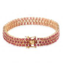 Ruby (13.70 Ct) 14K Gold Overlay Sterling Silver Bracelet