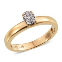 Genuine White Diamond (0.06ct.) band ring in Sterling Silver with 18K Gold Vermeil