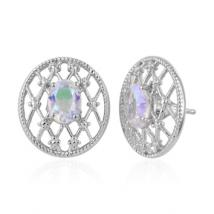 Oval Opalesence Quartz (2 ct.) mesh earrings in Sterling Silver with Platinum plating