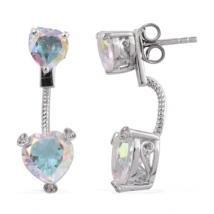 Heart Opalasence quartz (4.74 ct.) and White Zircon front-back earrings in Sterling Silver with Platinum plating