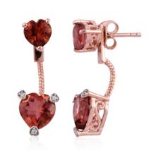 Heart Salmon coated quartz (4.74 ct.) and White Zircon front-back earrings in Sterling Silver with 18K RoseGold Vermeil