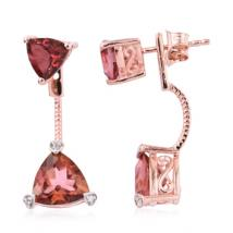 Trillion Salmon coated quartz (4.74 ct.) and White Zircon front-back earrings in Sterling Silver with 18K RoseGold Vermeil