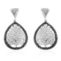 Genuine Black Diamond (.17ct.) and White Diamond (.07ct.) earring in Sterling Silver