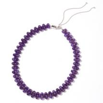 African Amethyst Beads adjustable choker necklace in Sterling Silver