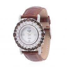 Brazilian Smoky Quartz (5.92 Ct),White Topaz Sterling Silver Watches
