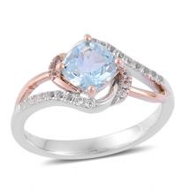 Sky Blue Topaz (1.15ct.) with White Topaz in Sterling Silver/10K Rose Gold
