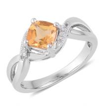 Citrine (.76ct.) and White Topaz in Sterling Silver Ring with Rhodium