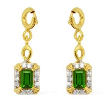 Russian Diopside (.61ct.) and White Zircon Sterling Silver Two-tone charm