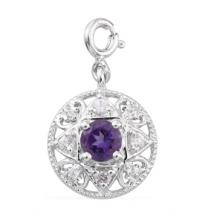 White Zircon (.75ct.) charm in Sterling Silver with Platinum plating