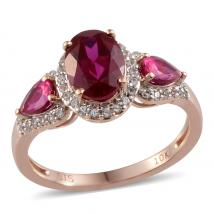Synthetic Ruby (1.95 Ct),Synthetic Ruby,Created White Sapphire 10K R Gold Ring