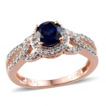 Created Blue Sapphire (0.90 Ct),Created White Sapphire 10K R Gold Ring