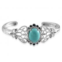 Mexican Turquoise (8.50 Ct),London Blue Topaz Sterling Silver Bangle (Size 7.5)