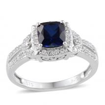 Created White Sapphire (13.67 Ct),Created Blue Sapphire Sterling Silver Ring