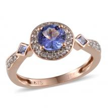 Tanzanite (0.86 Ct),White Topaz 10K R Gold Ring