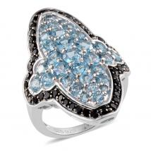 Swiss Blue Topaz (5.75 Ct),Thai Black Spinel Sterling Silver Ring