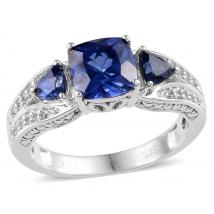 Created Blue Sapphire (2.10 Ct),Created White Sapphire 10K W Gold Ring