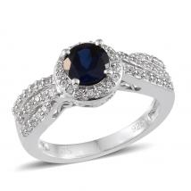 Created Blue Sapphire (0.94 Ct),Created White Sapphire 10K W Gold Ring