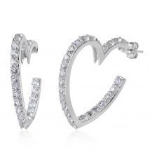 White Topaz (7.34 Ct) Platinum Overlay Sterling Silver Earring