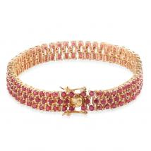 Ruby (13.70 Ct) 14K Gold Overlay Sterling Silver Bracelet