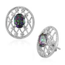 Oval Mystic Quartz (2 ct.) mesh earrings in Sterling Silver with Platinum plating