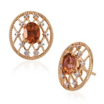 Oval Sunset Quartz (2 ct.) mesh earrings in Sterling Silver with 18K Gold plating