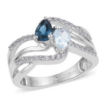 London Blue Topaz (.42ct.) Sky Blue Topaz (.43ct.) and White Topaz Bypass ring in Sterling Silver with Rhodium plating