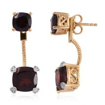 Cushion Red Garnet (7.21 ct.) and White Zircon front-back earrings in Sterling Silver with 18K Gold Vermeil