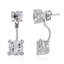 Cushion White Topaz (6.70 ct.) and White Zircon front-back earrings in Sterling Silver with Platinum plating
