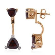 Trillion Red Garnet (4.74 ct.) and White Zircon front-back earrings in Sterling Silver with 18K Gold Vermeil