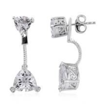 Trillion White Topaz (5.41 ct.) and White Zircon front-back earrings in Sterling Silver with Platinum plating