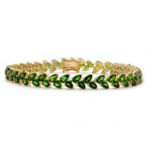 Russian Diopside (13.75 Ct),Russian Diopside 14K Gold Overlay Sterling Silver Bracelet (Size 7.5)
