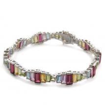 Multi Gem Stone Sterling Silver Bracelet (Size 7.5)