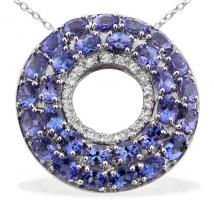 Tanzanite (5.75 Ct),White Topaz Sterling Silver Pendant With Chain