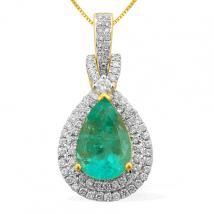 ILIANA Colombian Emerald (3.75 Ct) and Diamond 18K Y Gold Pendant With Chain